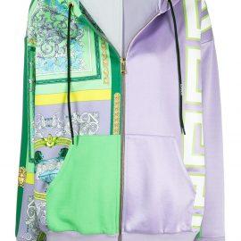 Versace printed zipped hoodie - Purple