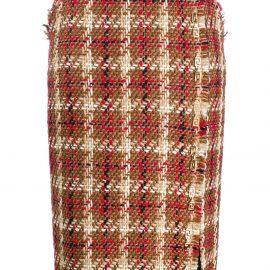 Versace tweed side slit skirt - Brown