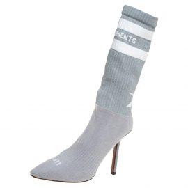 Vetements Grey Knit Fabric Reflective Sock Boots Size 36
