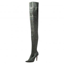 Vetements Metallic Multicolor Lurex Knit Thigh High Socks Boots Size 41