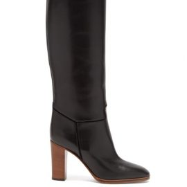 Victoria Beckham - Piped Knee-high Leather Boots - Womens - Black