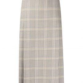 Victoria Beckham plaid midi skirt - Neutrals