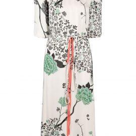 Victoria Victoria Beckham floral-print midi shift dress - Neutrals
