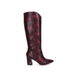 Womens Kg Kurt Geiger Sunnyred Snake Print Block Heel Knee High Boots, 3 UK, Red Dark