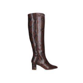 Womens Kurt Geiger London Briyabrown Snake Print Block Heel Knee High Boots, 2 UK, Dark Brown