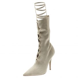 Yeezy Beige Knit Sock Lace Up Boots Size 36.5