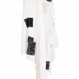 Yohji Yamamoto asymmetrical patchwork draped blouse - White