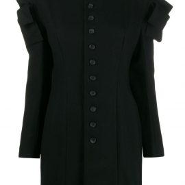 Yohji Yamamoto cut-off ruffle detail buttoned blouse - Black