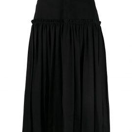 Y's pleated panel denim skirt - Black