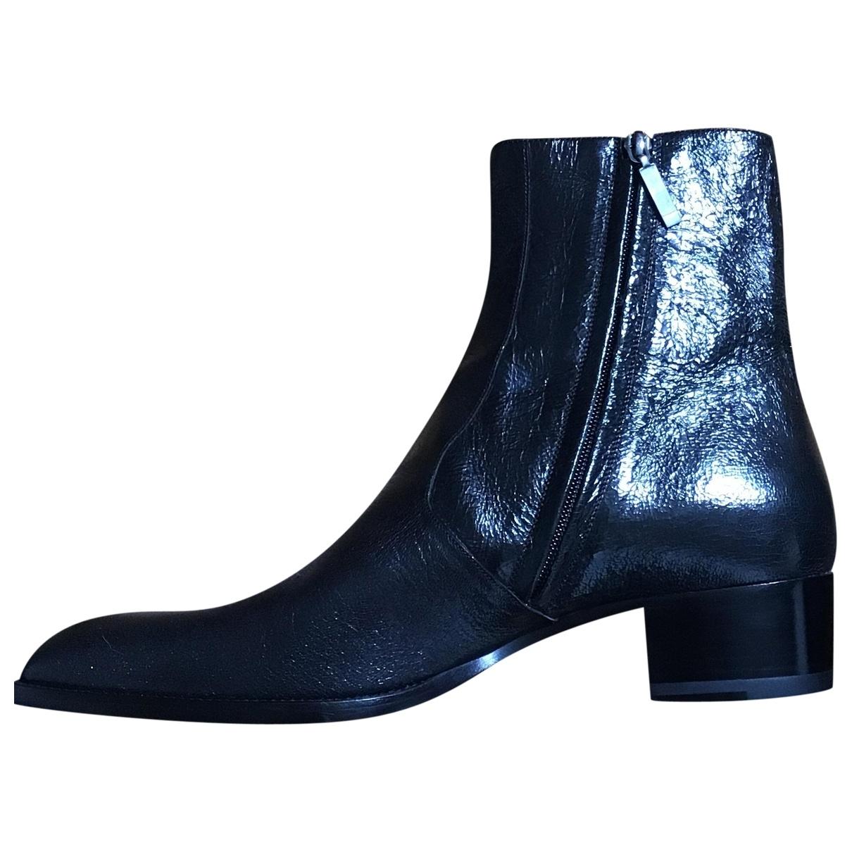 Yves Saint Laurent N Black Leather Boots for Men