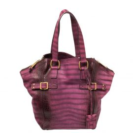 Yves Saint Laurent Purple Croc Embossed Leather Small Downtown Tote