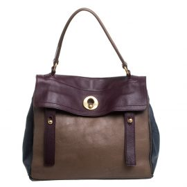 Yves Saint Laurent Tri Color Leather and Suede Medium Muse Two Satchel