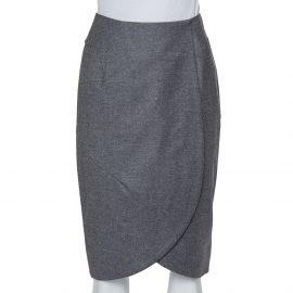 Yves Saint Laurent Vintage Grey Wool & Cashmere Mini Faux Wrap Skirt S