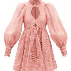 Zimmermann - Concert Disc-embellished Linen-blend Batiste Dress - Womens - Pink