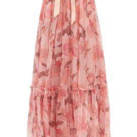 Zimmermann - Concert Floral-print Silk-chiffon Maxi Skirt - Womens - Pink Print