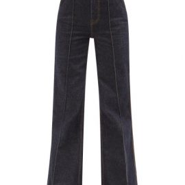 Zimmermann - Concert Logo-embroidered Pintucked Flared Jeans - Womens - Denim