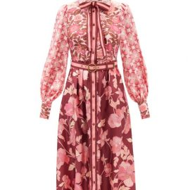 Zimmermann - Concert Spliced Floral-print Silk Midi Dress - Womens - Pink Print