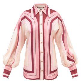 Zimmermann - Concert Striped Silk-twill Blouse - Womens - Pink Print