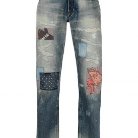 poggys box distressed patchwork jeans - Blue
