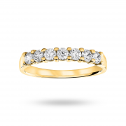 18ct Yellow Gold 0.50ct Brilliant Cut Half Eternity Ring – Ring Size O