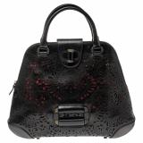 Alexander McQueen Black Laser Cut Leather Satchel