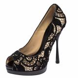 Alexander McQueen Black Orchid Lace Peep Toe Pumps Size 36