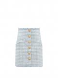 Balmain – High-rise Buttoned Tweed Mini Skirt – Womens – Blue
