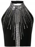 Balmain rhinestone embellished halterneck top – Black