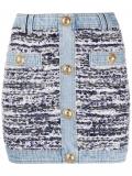 Balmain tweed denim mini skirt – Blue