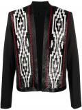 Balmain wool blazer with patterned beaded detailing – Black