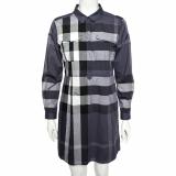 Burberry Brit Blue Checkered Cotton Peggie Shirt Dress M