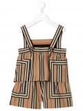 Burberry Kids Icon stripe poplin playsuit – Brown