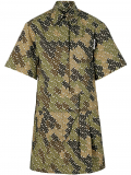 Burberry Short-sleeve Monogram Print Shirt Dress – Green