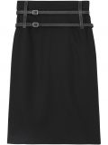Burberry leather harness detail pencil skirt – Black