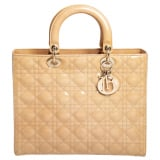 Dior Beige Cannage Patent Leather Large Lady Dior Tote