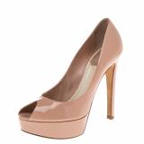 Dior Beige Patent Leather Miss Dior Peep Toe Pumps Size 36.5