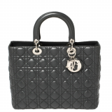 Dior Grey Cannage Leather Large Lady Dior Tote, Grey