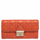 Dior Orange Cannage Leather Miss Dior Flap Continental Wallet
