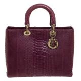 Dior Purple Python Large Lady Dior Tote