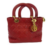 Dior – Red Lady Dior Cannage – Leather And Gold Hardware – Top Handle Handbag, Red