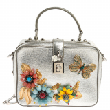 Dolce and Gabbana Silver Embellished Leather Dolce Soft Limited Edition Top Handle Bag