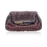 Fendi Gray Satin Folding Mini Clutch Evening Bag With Beads, Pink