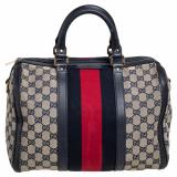 Gucci Beige/Navy Blue GG Canvas Medium Vintage Web Boston Bag