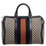 Gucci Black/Beige Diamante Canvas Medium Vintage Web Boston Bag