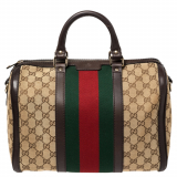 Gucci Brown/Beige GG Canvas Medium Vintage Web Boston Bag