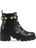 Gucci Embroidered leather ankle boot with belt – Black