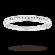 Ladies diamond set 2mm wedding ring in 18 carat white gold – Ring Size L