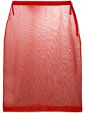 Miu Miu sheer mesh pencil skirt – Red