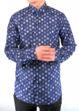 Navy With Large Abstract Floral Print Shirt