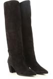 Prada Boots for Women, Booties On Sale in Outlet, Black, Suede leather, 2021, 4.5 7.5